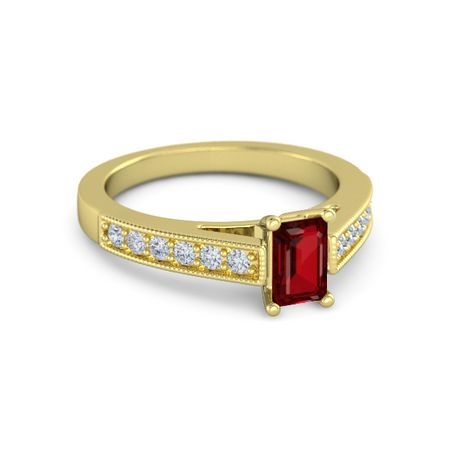 Emerald-Cut Flora Ring (6mm gem)