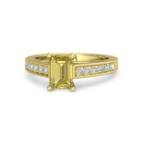 Emerald Yellow Sapphire 14K Yellow Gold Ring with Diamond