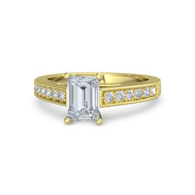 Emerald Diamond 14K Yellow Gold Ring with Diamond