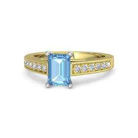 Emerald Blue Topaz 18K Yellow Gold Ring with Diamond