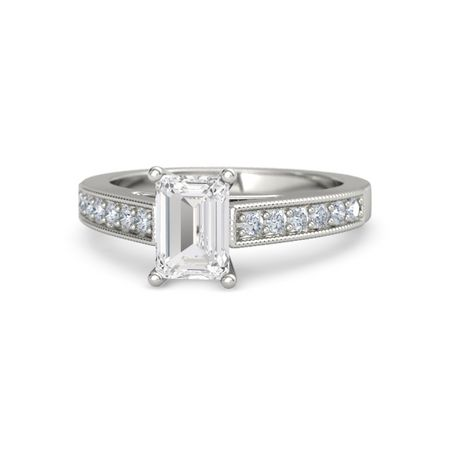 5f495224926b0 Emerald-Cut Flora Ring (7mm gem) - Emerald White Sapphire Palladium Ring  with Diamond