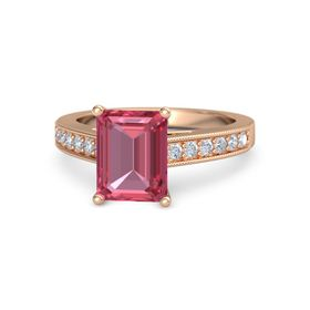 Emerald Pink Tourmaline 14K Rose Gold Ring with Diamond