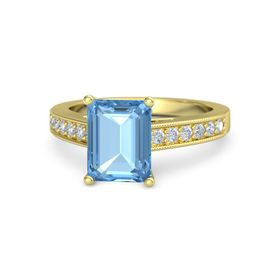 Emerald Blue Topaz 14K Yellow Gold Ring with Diamond