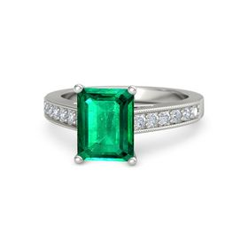 Emerald Emerald 18K White Gold Ring with Diamond
