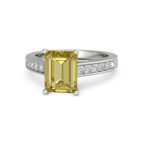 Emerald Yellow Sapphire 18K White Gold Ring with Diamond