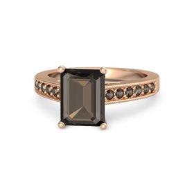Emerald Smoky Quartz 14K Rose Gold Ring with Smoky Quartz