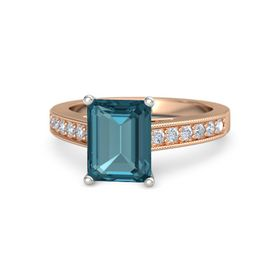 Emerald London Blue Topaz 14K Rose Gold Ring with Diamond