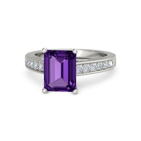 Emerald Amethyst 14K White Gold Ring with Diamond