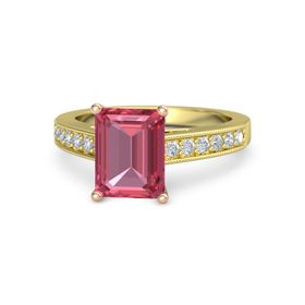 Emerald Pink Tourmaline 14K Yellow Gold Ring with Diamond