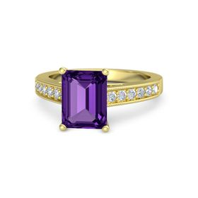 Emerald Amethyst 14K Yellow Gold Ring with Diamond