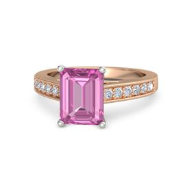 Emerald Pink Sapphire 18K Rose Gold Ring with Diamond