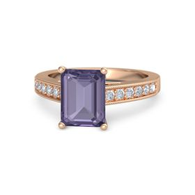 Emerald Iolite 18K Rose Gold Ring with Diamond