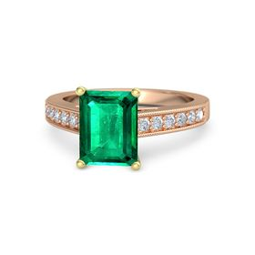 Emerald Emerald 18K Rose Gold Ring with Diamond