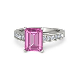 Emerald Pink Sapphire 18K White Gold Ring with Diamond