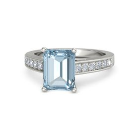 Emerald Aquamarine 18K White Gold Ring with Diamond