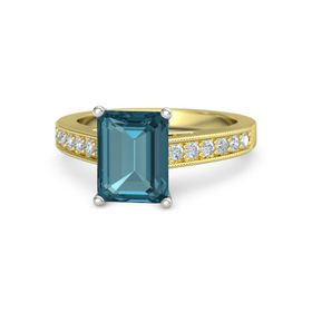Emerald London Blue Topaz 18K Yellow Gold Ring with Diamond