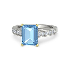 Emerald Blue Topaz Palladium Ring with Diamond