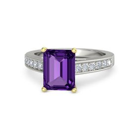 Emerald Amethyst Platinum Ring with Diamond