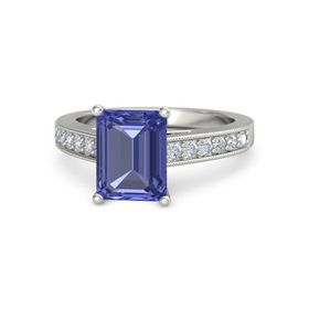 Emerald Tanzanite Platinum Ring with Diamond