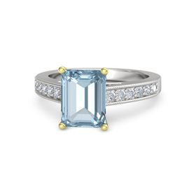 Emerald Aquamarine Sterling Silver Ring with Diamond