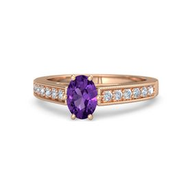 Oval Amethyst 18K Rose Gold Ring with Diamond
