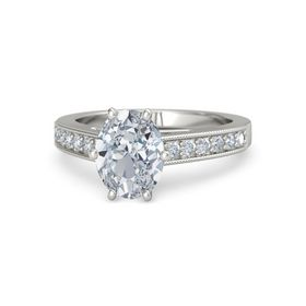 Oval Diamond 18K White Gold Ring with Diamond