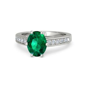 Oval Emerald 18K White Gold Ring with Diamond