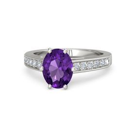 Oval Amethyst Platinum Ring with Diamond