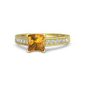 Princess Citrine 14K Yellow Gold Ring with Diamond