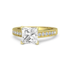 Princess Rock Crystal 18K Yellow Gold Ring with Diamond