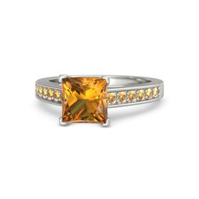 Princess Citrine Platinum Ring with Citrine