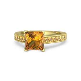 Princess Citrine 14K Yellow Gold Ring with Citrine
