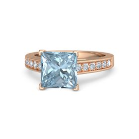 Princess Aquamarine 14K Rose Gold Ring with Diamond