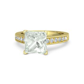 Princess Green Amethyst 14K Yellow Gold Ring with Diamond