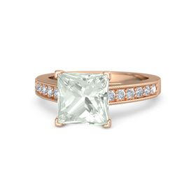 Princess Green Amethyst 18K Rose Gold Ring with Diamond