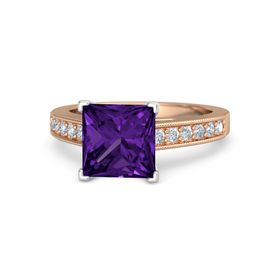 Princess Amethyst 18K Rose Gold Ring with Diamond