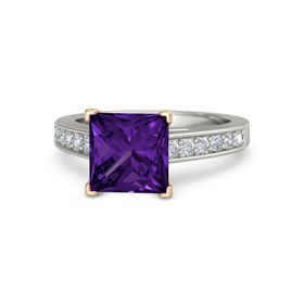 Princess Amethyst Platinum Ring with Diamond