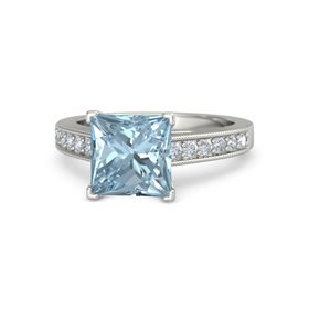 Princess Aquamarine Platinum Ring with Diamond