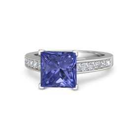 Princess Tanzanite Sterling Silver Ring with Diamond