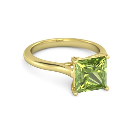 princess peridot 14k yellow gold ring princess cut