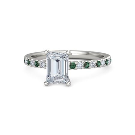 emerald 14k white gold ring with alexandrite and