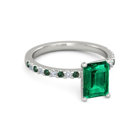 emerald emerald 14k white gold ring with alexandrite and