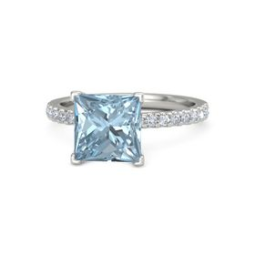 Princess Aquamarine 18K White Gold Ring with Diamond