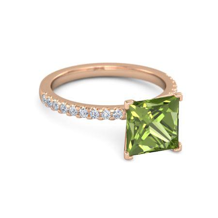 princess peridot 14k gold ring with