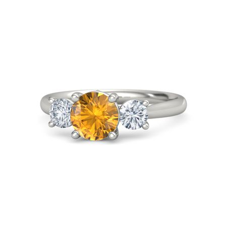 citrine ring and rings round p gold jewellery diamond white tone gifts cut brilliant apparel two