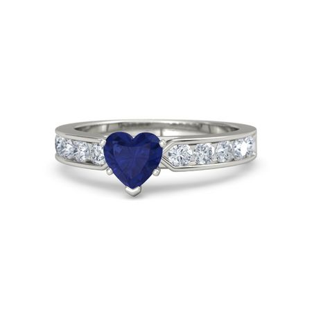 2a9cce34592a0 Lovena Ring - Heart Blue Sapphire 14K White Gold Ring with Diamond