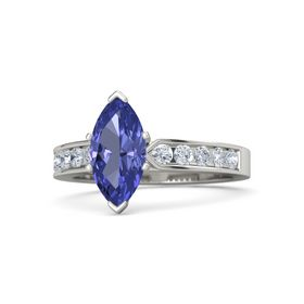 silver*s4801 marquise cut Beautiful Natural  Tanzanite  ring engagement ring