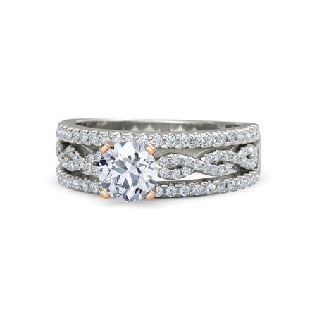 a1544bb217851 Celine Ring - Round Diamond 14K White Gold Ring with Diamond