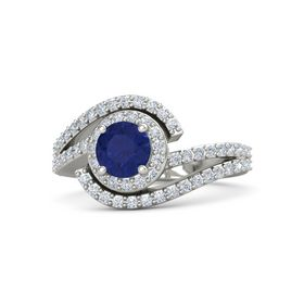 Round Blue Sapphire Platinum Ring with Diamond