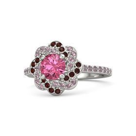 Round Pink Tourmaline Palladium Ring with Rhodolite Garnet and Red Garnet